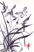 Akimova: BUTTERFLY AND ORCHID, watercolor, black&white, garden, still li... - $9.00