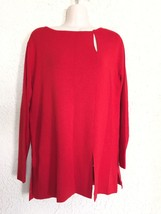 Vintage 80s 90s Bloomingdale's 100% Wool Keyhole Tunic Sweater Red Sz Small NWT - $23.73