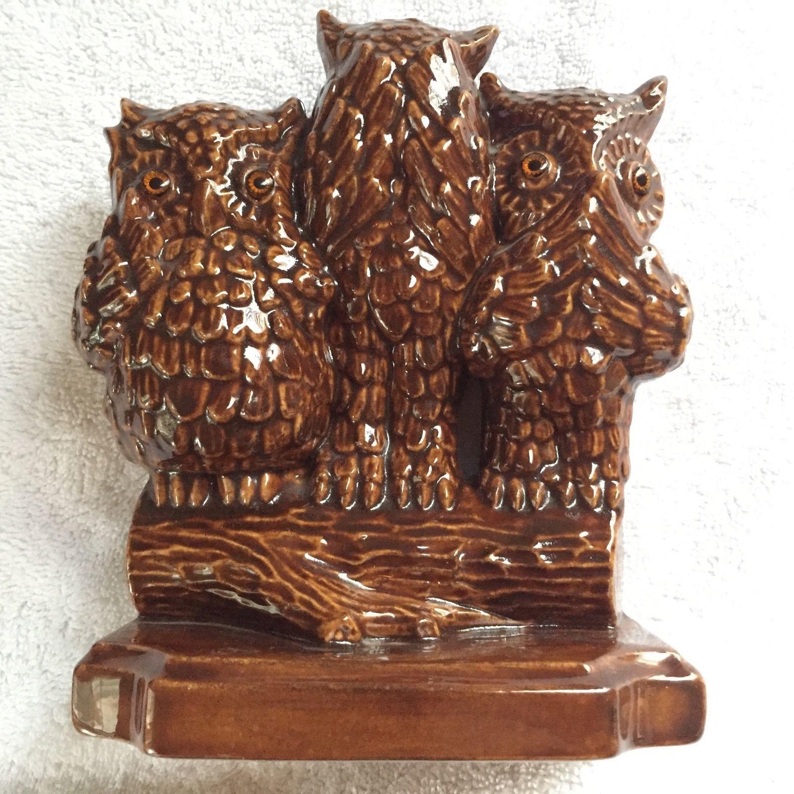 Vintage see speak and hear no evil set of ceramic porcelain owls figurines owls - Hear no evil owls ceramic ...