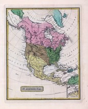 1816 LUCAS ATLAS MAP POSTER genealogy family history NORTH AMERICA 6 - $15.84