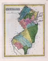 1816 LUCAS ATLAS MAP POSTER genealogy family history NEW JERSEY 17 - $15.84