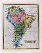 1816 LUCAS ATLAS MAP POSTER genealogy family history SOUTH AMERICA 7 - $15.84