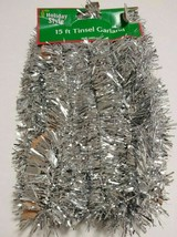 "New Listing Holiday Style Silver Tinsel Garland 2"" X 15 foot - $6.00"
