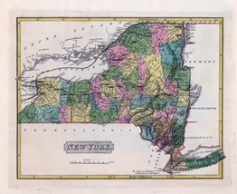 1816 LUCAS ATLAS MAP POSTER genealogy family history NEW YORK STATE 16 - $15.84