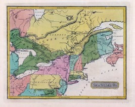 1816 LUCAS ATLAS MAP POSTER genealogy family history EASTERN CANADA  8 - $15.84