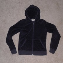 Juicy Couture Black Velour Track Jacket Hoodie Medium M, MADE IN THE USA - $16.19