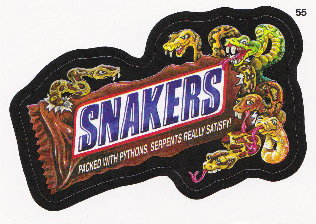 2013 WACKY PACKAGES ANS10 CARD **SNAKERS** #55 ONLY 99 CENTS!!  WOW!!