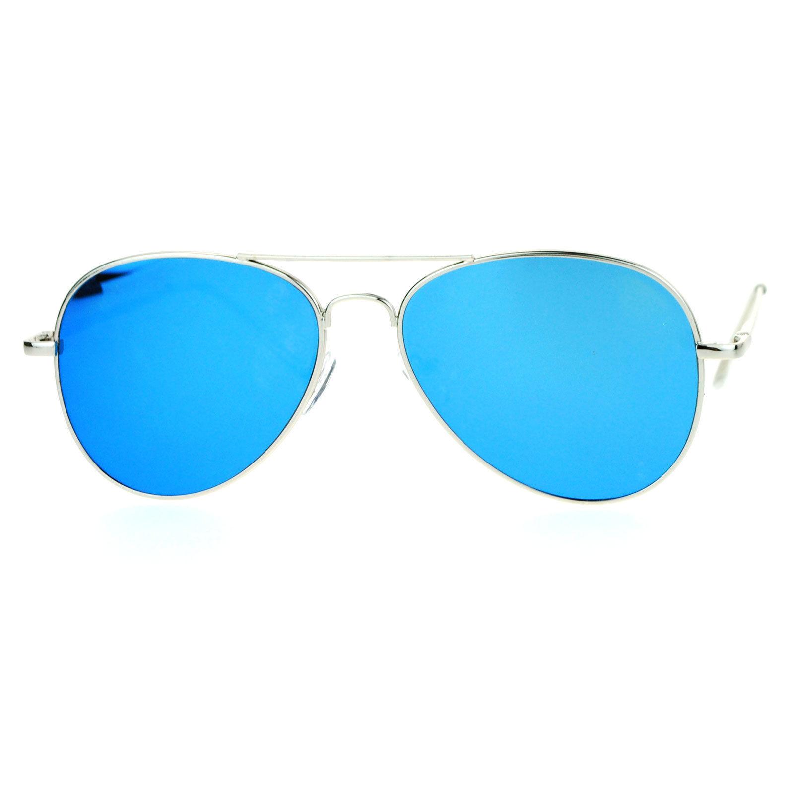 Flat Lens Aviator Sunglasses Thin Metal Spring Hinge Frame Silver Mirror Lens