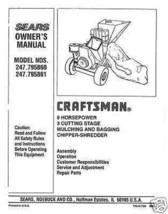 Craftsman  Chipper Shredder  Manual Model # 247.795861 - $10.99