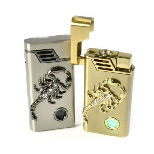 Cool Gift Metal Windproof LED Gas Flame Scorpion Shape Cigar Cigarette Lighter