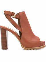SEE By CHLOE Women's Brown Pebbled  Leather Chunky Heel High Sandals - $325.00