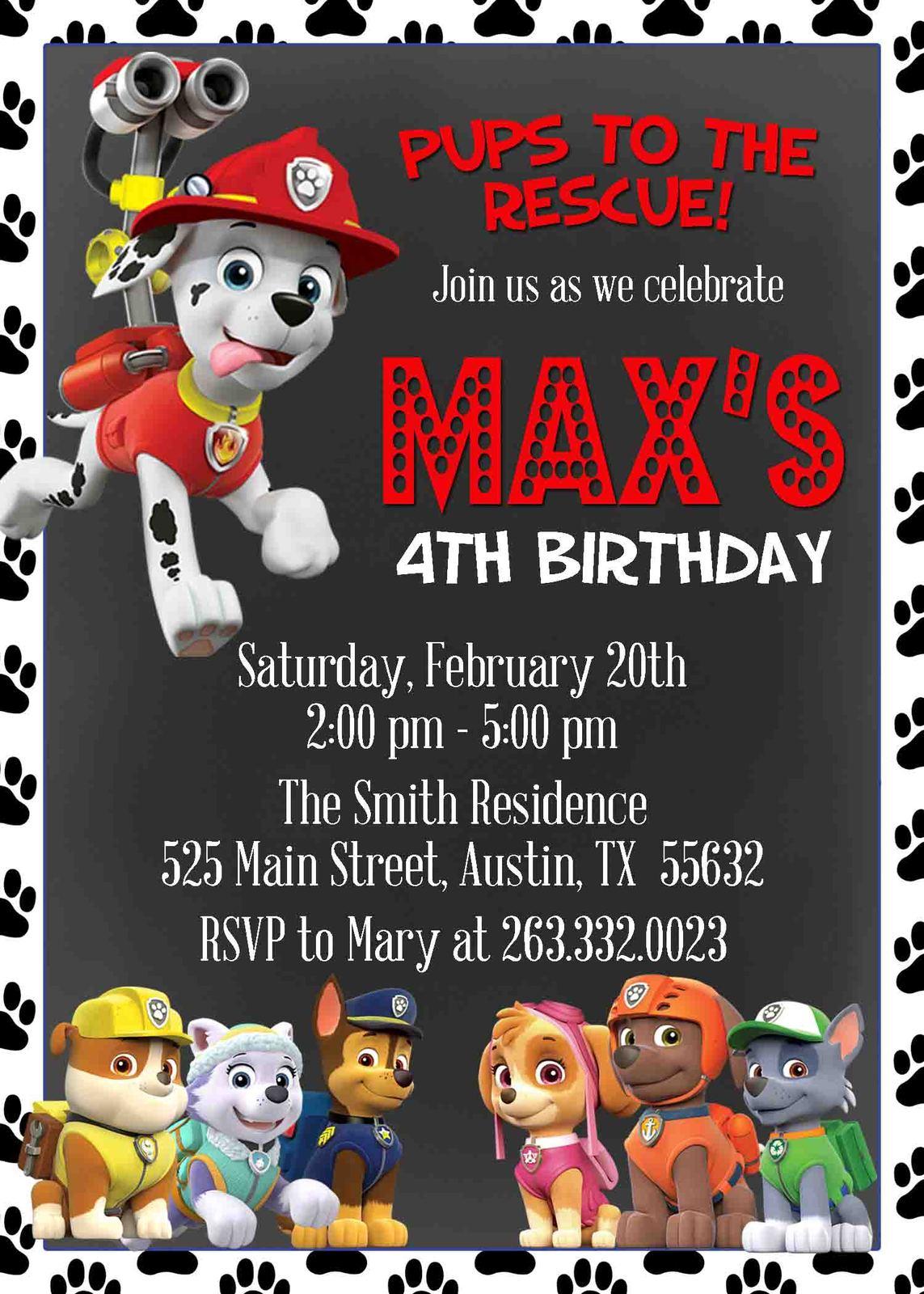 Paw Patrol Marshall Birthday Invitation Set Includes Matching Envelopes Custom