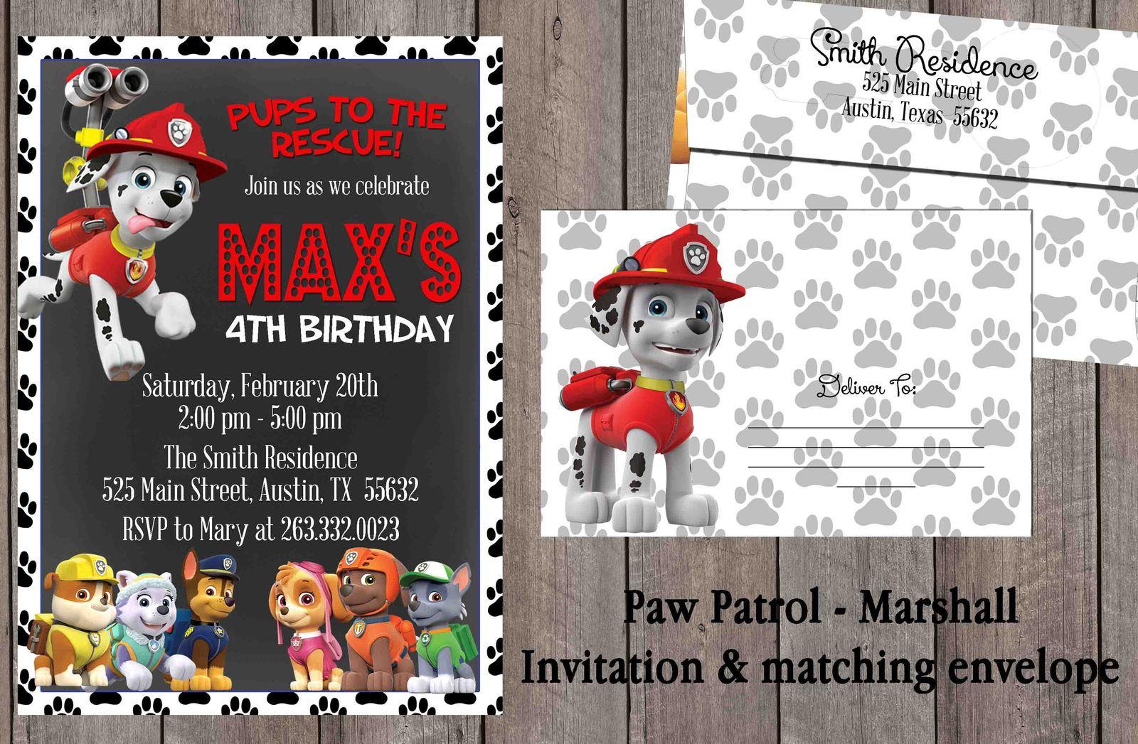 Paw Patrol Marshall Birthday Invitation Set And Similar Items