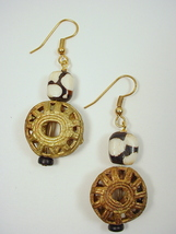Brass French Wire Dangle Earrings with Kenya Bone Batik Beads and Brass ... - $25.00