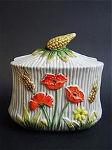 Vintage Lefton China Poppy Wheat Sheaf Napkin Holder #1457 WT Kitchen Ho... - $24.24
