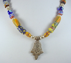 Statement Necklace with Ethiopian Silver Cross ... - $175.00