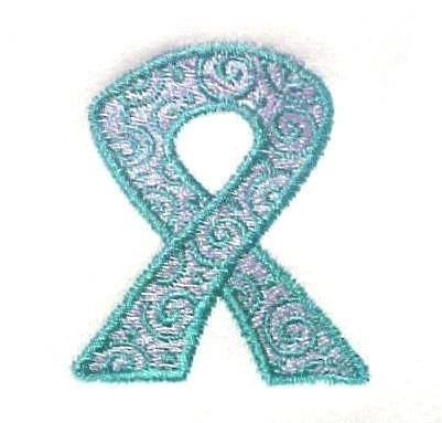 Teal Lilac Scrolled Ribbon Hoodie S Awareness White Sweatshirt Unisex New