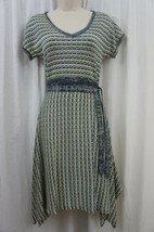 AGB Dress Sz S Multi Color Short Sleeve Knitted Belted Waist Casual Dress   - $48.35