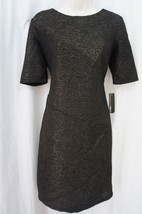 AGB Dress Sz 8 Black Gold Short Sleeve Polyester Cocktail Evening Party ... - $39.53