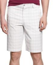 Alfani Mens Shorts Sz 42 Bright White Grey Multi Plaid Cotton D 558 Shorts - $19.71