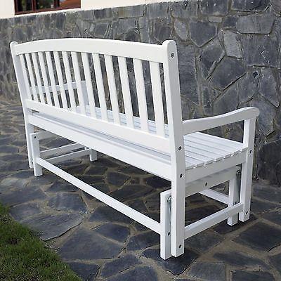 wooden glider bench rocking white 4 ft outdoor porch patio