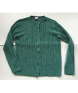 Teal Green Cable Knit Button Down Sweater M Cardigan Haband Long Sleeve - $9.89