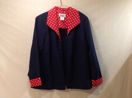 Anthony Richards Women's Size 10 Petite Blazer Navy Blue w/ White Red Polka Dots