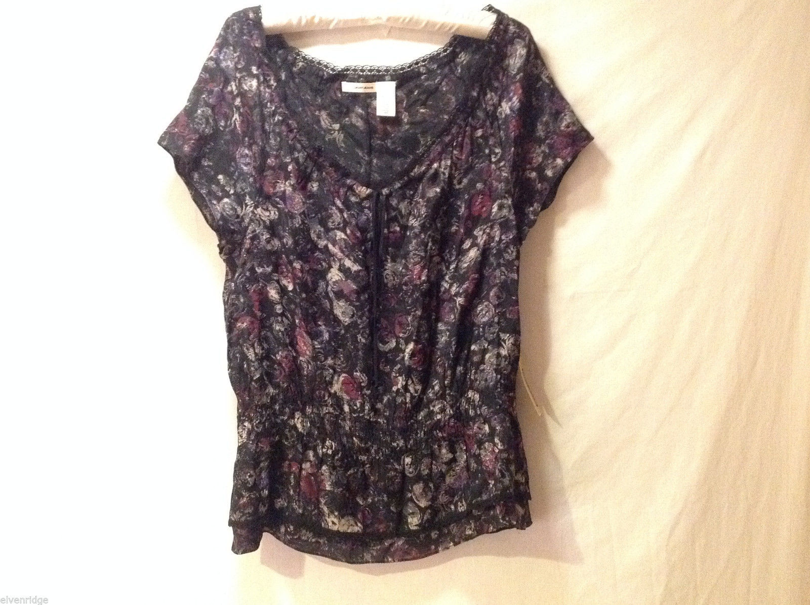DKNY Jeans Women's Size S Top Shirt Blouse Black w/ Mottled Floral Print NWT