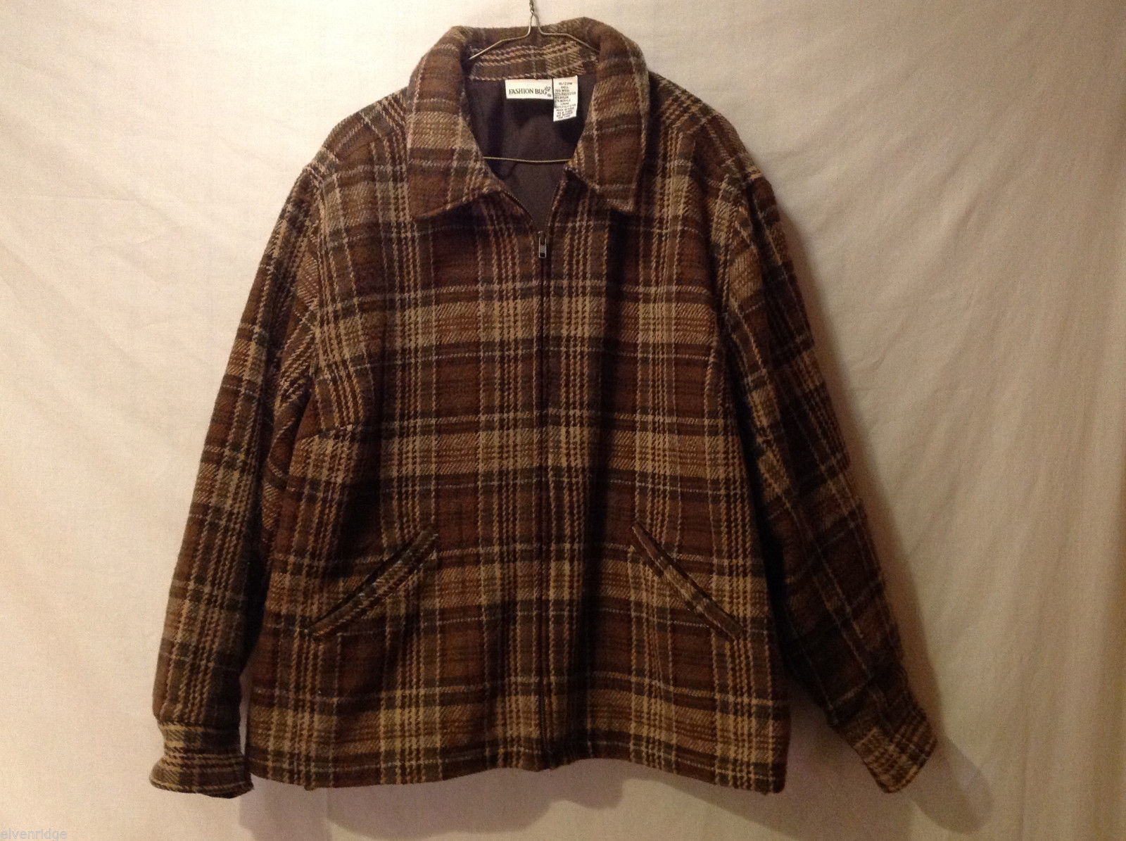 Fashion Bug Women's Size 18-20 Zipper Jacket Plaid Tweed Brown & Tan Wool Blend