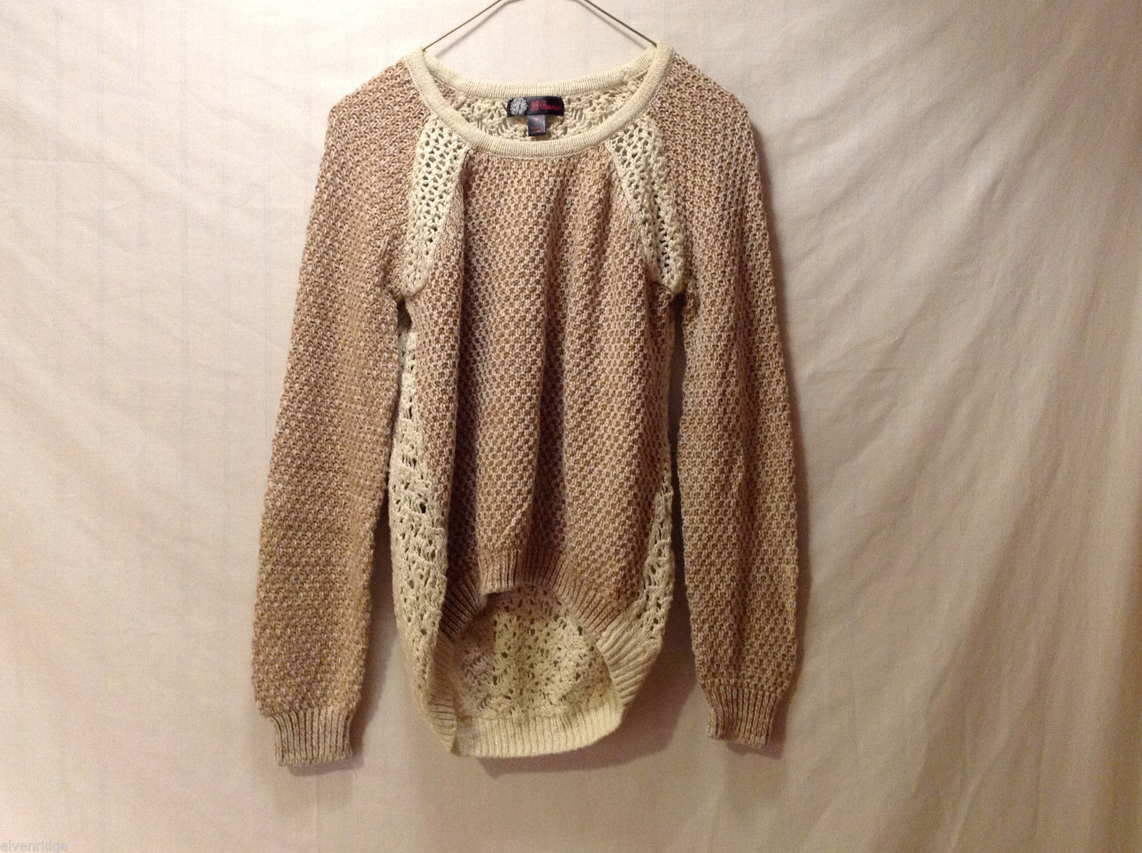 J.J. Basics Women's Size M High-Low Sweater Top Crochet Open-Knit Brown & Cream