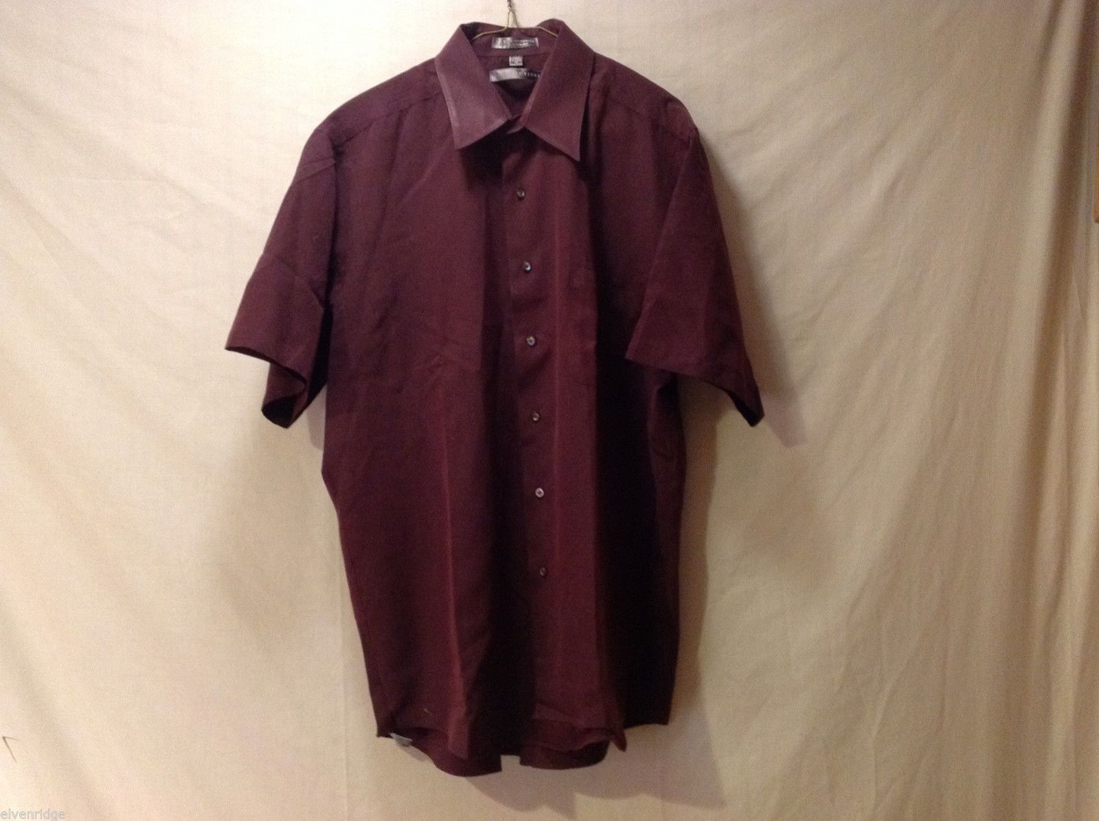 Geoffrey Beene Men's Size XL Casual Shirt Button-Down Half Sleeve Burgundy Red