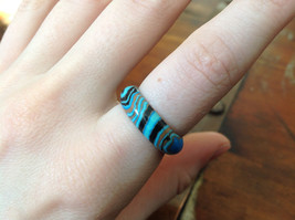 Blue Black Brown Agate Natural Stone Ring Size  9.5 image 3