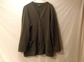 Lands' End Women's Size 18-20 Cardigan Sweater Army Khaki Olive Green V-Neck