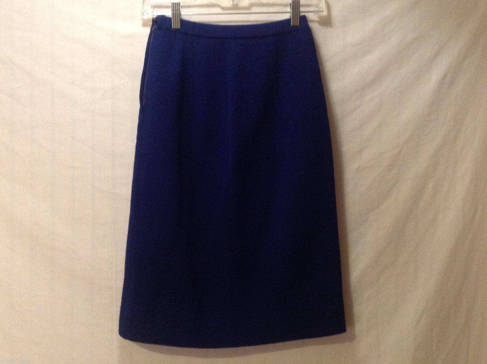No Brand Women's Size 10 Skirt Navy Blue 100% Wool Italy Made A-Line Midi Length