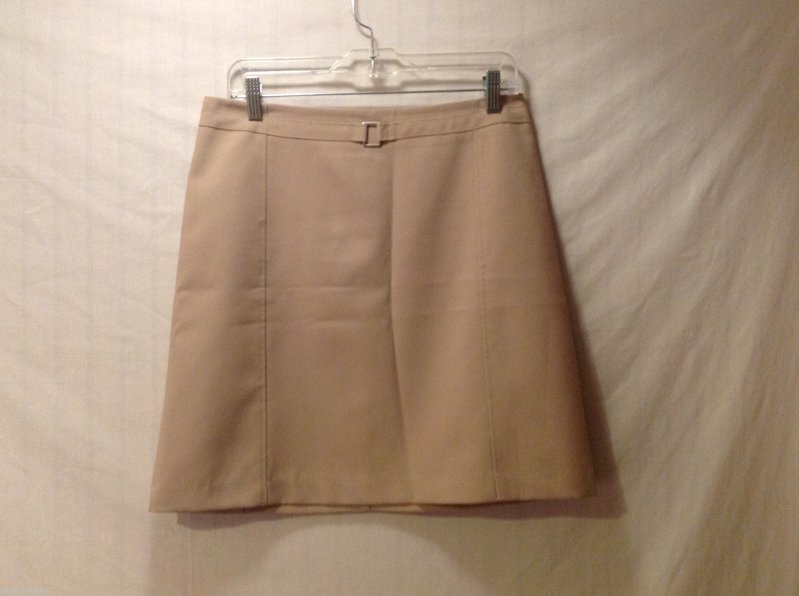 New York & Company Women's Size 8 Skirt Tan Mini A-Line Back Zipper Faux Belt