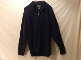 Orvis Men's Size L Sweater Dark Navy Blue Heavy Cotton Knit Zip-Up Zipper Collar