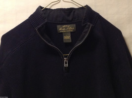 Orvis Men's Size L Sweater Dark Navy Blue Heavy Cotton Knit Zip-Up Zipper Collar image 2