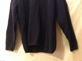 Orvis Men's Size L Sweater Dark Navy Blue Heavy Cotton Knit Zip-Up Zipper Collar image 3