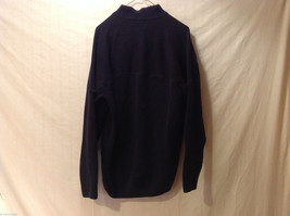 Orvis Men's Size L Sweater Dark Navy Blue Heavy Cotton Knit Zip-Up Zipper Collar image 5