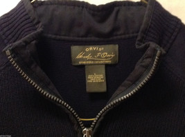 Orvis Men's Size L Sweater Dark Navy Blue Heavy Cotton Knit Zip-Up Zipper Collar image 6