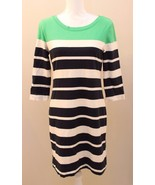 Banana Republic Navy Ivory Green Striped Dress Size M Nautical  Bodycon - $24.72