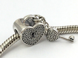 Authentic Pandora Lock of Love Sterling Silver & CZ Bead Charm 791426CZ New - $64.59