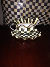 MACKENZIE-CHILDS Courtly Check  Ceramic Gravy Boat & Platter HTF Retired... - $247.50