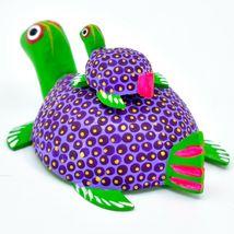 Handmade Alebrijes Oaxacan Wood Carving Folk Art Mom & Baby Sea Turtle Figure image 4