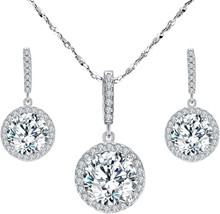 EVER FAITH 925 Sterling Silver CZ Gorgeous Round Cut Wedding Pendant Nec... - $96.75