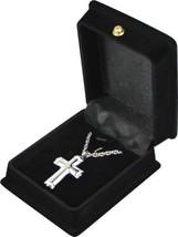 """White & Silver Cross Pendant w/20"""" chain & black velvet display box - $149.99"""