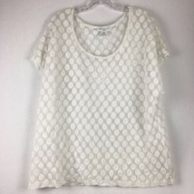 Liz Claiborne Woman White Short Sleeve Polka Dotted Scoopneck Shirt Size 3X - $14.84
