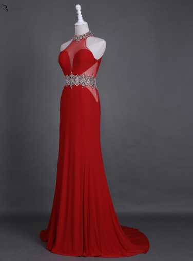 red Prom Dress, Long Prom Dress, open back Prom Dress, chiffon Prom Dresses