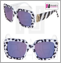 Marc Jacobs Marc 179 White Leopard Pearl Blue Square Mirrored Limited Sunglasses - $169.29