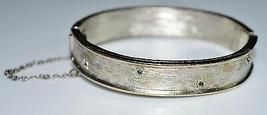 VTG KRAMER Silver Tone Clear Blue Rhinestone Flower Bangle Bracelet - $29.70
